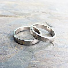 Matching Hammered White Gold Wedding Band Set by Brightsmith White Gold Jewelry, Silver Rings, Matching Wedding Band Sets, Wedding Rings, Gold Wedding, Frist, Just For You, Pandora, Shop