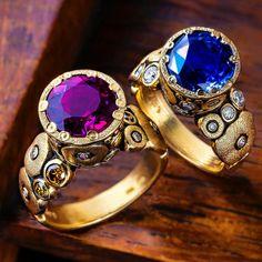 Orchard rings. #rubellite #sapphire #alexsepkus Pearl Jewelry, Fine Jewelry, Bracelets, Bangles, Badass Style, Make Beauty, Colored Diamonds, Bracelet Watch, Jewelry Watches