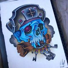 Pirata Evil Skull Tattoo, Evil Tattoos, Skull Girl Tattoo, Gothic Tattoo, Skull Tattoo Design, Skull Tattoos, Cool Tattoo Drawings, Dark Art Drawings, Tattoo Sketches