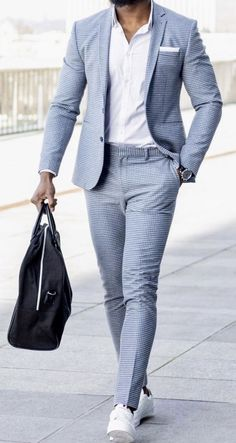 Men's Fashion Trends For 2019 To Wear Right Now Baby blue, summer steez. Blazer Outfits Men, Mens Fashion Blazer, Suit Fashion, Latex Fashion, Fashion Goth, Fashion Trends, Fashion Bags, Runway Fashion, Mens Casual Suits