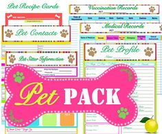 Pet Printables - INSTANT and EDITABLE - Printable Organizers - Home Management Binder - 6 Documents