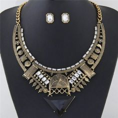Western Style Assorted Elements Combo Hollow Arch with Triangle Design Fashion Necklace and Earrings Set - Golden