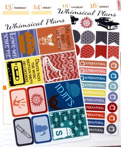 Supernatural Inspired Mini Kit - 65+ Planner Stickers (Perfect for Erin Condren Life Planners) by WhimsicalPlans on Etsy https://www.etsy.com/listing/247260741/supernatural-inspired-mini-kit-65