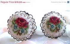 Vintage Rose Red Petit Point Hand Sewn Earrings via Etsy