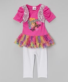Love this Pink 'Dream' Tunic & White Leggings - Infant, Toddler & Girls on #zulily! #zulilyfinds