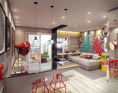 Perspectiva artística do living do apartamento Studio de 34,19 m² (final 10 do 2º ao 11º andar)