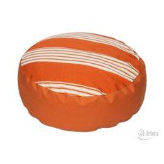 Dekoria Pufa okrągła pomarańczowa w pasy.