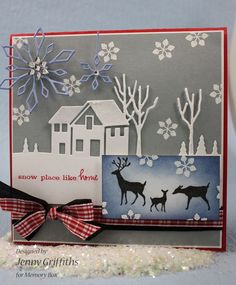 great holiday card.....love blue snowflakes