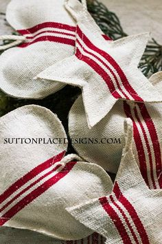 Vintage Grain Sack Christmas Ornaments | from Sutton Place Designs