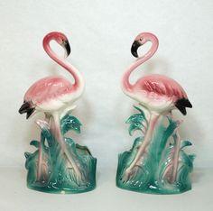 Pair of Pink Flamingo Ceramic Art Planters Vintage Mid Century Pottery in Collectibles, Animals, Birds   eBay