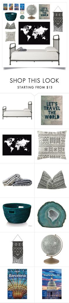 """""""black&white&teal."""" by tothineownselfbtrue ❤ liked on Polyvore featuring interior, interiors, interior design, home, home decor, interior decorating, Inspire Q, Trademark Fine Art, Hawkins and Lonely Planet"""
