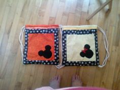 Disney his and hers drawstring bags with lining