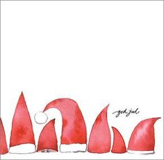 Cute Christmas card idea with red Santa and gnome hats. Watercolor Christmas Cards, Christmas Drawing, Diy Christmas Cards, Noel Christmas, Christmas Paintings, Watercolor Cards, Winter Christmas, Holiday Cards, Painted Christmas Cards