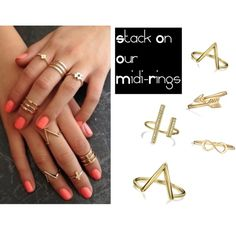 Stack On Our Midi-Rings by blingjewelry on Polyvore featuring Bling Jewelry, love, coachella and fashionset