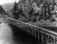 BC Spruce Mills Flume at Lumberton, just west of Cranbrook, circa 1925: Columbia Basin Institute of Regional History