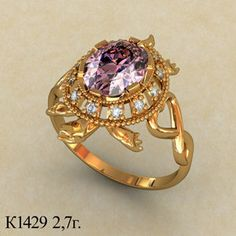 Gold woman ring. The ring Tortoise. A wonderful amethyst looks incredibly elegant in this beautiful gold ring. An amazing ring will be a beautiful