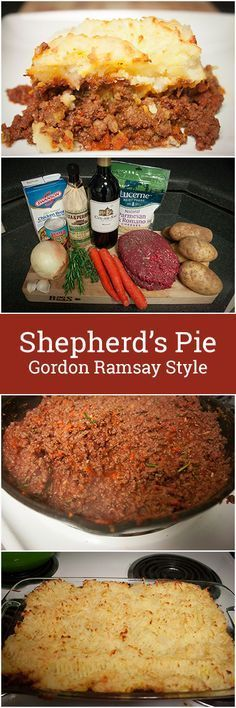 Shepherd's Pie inspired by Gordon Ramsay, cooked with Ground Beef, Red Wine, Carrots, Onions, Tomato Paste and other spices. Topped with Mashed Potatoes!