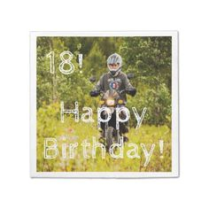18th birthday for boy with your photo paper napkin