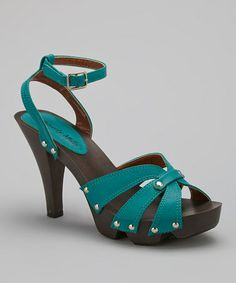 Another great find on #zulily! Turquoise Ankle-Strap Platform Sandal by Glamour Footwear #zulilyfinds