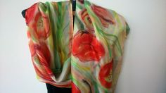 Hand Painted Long Silk Scarf for Ladies. Poppies Painted on Silk. Red,White…
