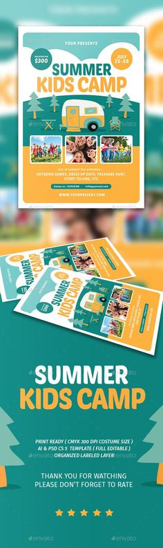 Kids Summer Camp Flyer design templates, Ai illustrator and - now hiring flyer template