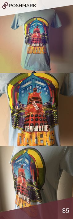 Vintage Inspired Doctor Who Dalek Tee I love this shirt! Perfect for any fan of Doctor Who, whether you love the classic show or are obsessed with the latest incarnations. Adult Small, unisex slim fit. This tee has only been worn a handful of times, but there is a bleach stain near one of the arm pits. Sad to see this top go, but I know there's another geek girl out there that will love it and maybe find a way to upcycle it! Hot Topic Tops Tees - Short Sleeve
