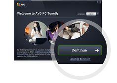Второй шаг установки AVG PC TuneUp— кнопка «Продолжить»