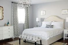 gray and creamy white.  wall color is ICI-Dulux Silver Cloud