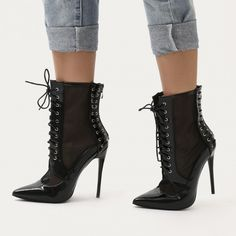 f2159cb46daa Eshal Lace Up Mesh Detail Pointed Toe Ankle Boots in Black Patent