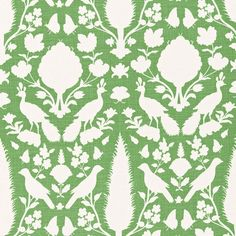 Chenonceau | 173566 in Aloe | Schumacher Fabrics |  Based on a documentary print, derived itself from a 17th-century Persian damask, Chenonceau features enchanting flora and fauna silhouettes. Also available as a wallcovering.