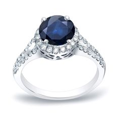 Auriya Platinum 3/4ct Blue Sapphire and 1/2ct TDW Diamond Engagement Ring (H-I, SI1-SI2) (Platinum - Size 7), Women's