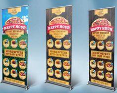 Professional Signage Roll Up Banners and BillBoard Design by GilleDeVille Restaurant Fast Food, Simple Background Design, Standing Banner Design, Rollup Banner, Billboard Design, Simple Backgrounds, Menu Design, Social Media Design, Happy Hour