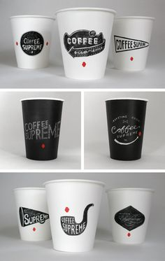 COFFEE SUPREME (New Zealand & Australia) by Hardhat Design , via Behance.  Anything that has this kind of style with coffee has my vote. It just works! What I like even more about this particular one is the originality of the pieces, each coffee cup has a different image! Also, I like the combination of the cafe feel, with the addition of a more modern essence (bc of the black and white)