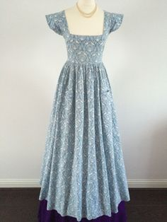 VINTAGE 70s LAURA ASHLEY BLUE PEACOCK EMPIRE DRESS MADE IN WALES 6-8UK RARE | eBay
