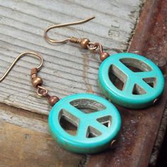 Peace and Love Earrings  turquoise blue howlite stone peace signs by MySoulCanDance