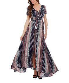 Look at this #zulilyfind! Fuchsia Geometric Peasant Maxi Dress #zulilyfinds