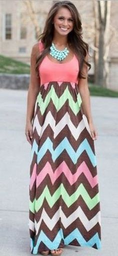 Great Colors for Summer! Chic and Comfy Watermelon Pink Striped Shoulder-Strap U-neck Maxi Dress