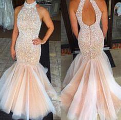Gorgeous Prom Dress -Pearl Pink Mermaid Halter Sweep Train witn Rhinestone