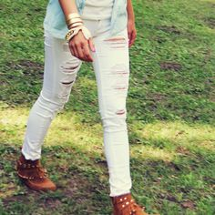 The Joey Destructed Skinny Jean, Vintage Distressed Denim Jeans from Spool 72.   Spool No.72