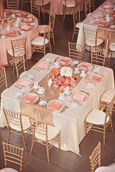 Pink and Gold Wedding Inspiration | Square Reception Tables | Gold Table Runner | Pink Napkins and Centerpieces | Gold Chairs