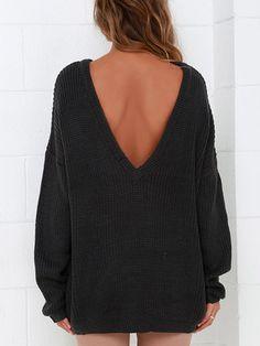 Long Sleeve Open Back Loose Sweater