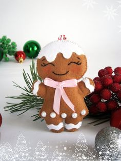 Felt Gingerbread man Christmas felt ornament decor by MyMagicFelt