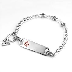 Silver Medical Beaded Bracelet for Mom with Stainless Plaque - 7 1/2 Inch - Item AA1171