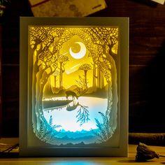Kingneonlux света и тени бумаги резные фонари река олень ПОДЕЛКИ ручной работы 3d огни творческий подарок настольная лампа спальня ночник