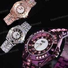 New Fashion Stainless Steel Women Quartz Crystal Dimond Wrist Watch 3colors