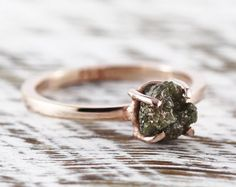 Uncut Diamond Ring Black Rough 14k Rose Gold Delicate Rings