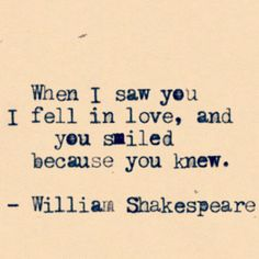 Basically I just really love Shakespeare.