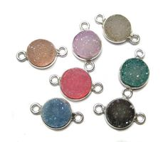 925 Sterling Silver Bezel druzy Connectors  fine by finegemstone, $31.50
