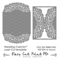 "Wedding invitation Pattern Card 5*7"" Template Roses Lace folds (svg, dxf, ai…"