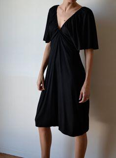 Black jersey dress with kimono sleeves, midi length. Gatsby. One size fits many. on Etsy, $105.00